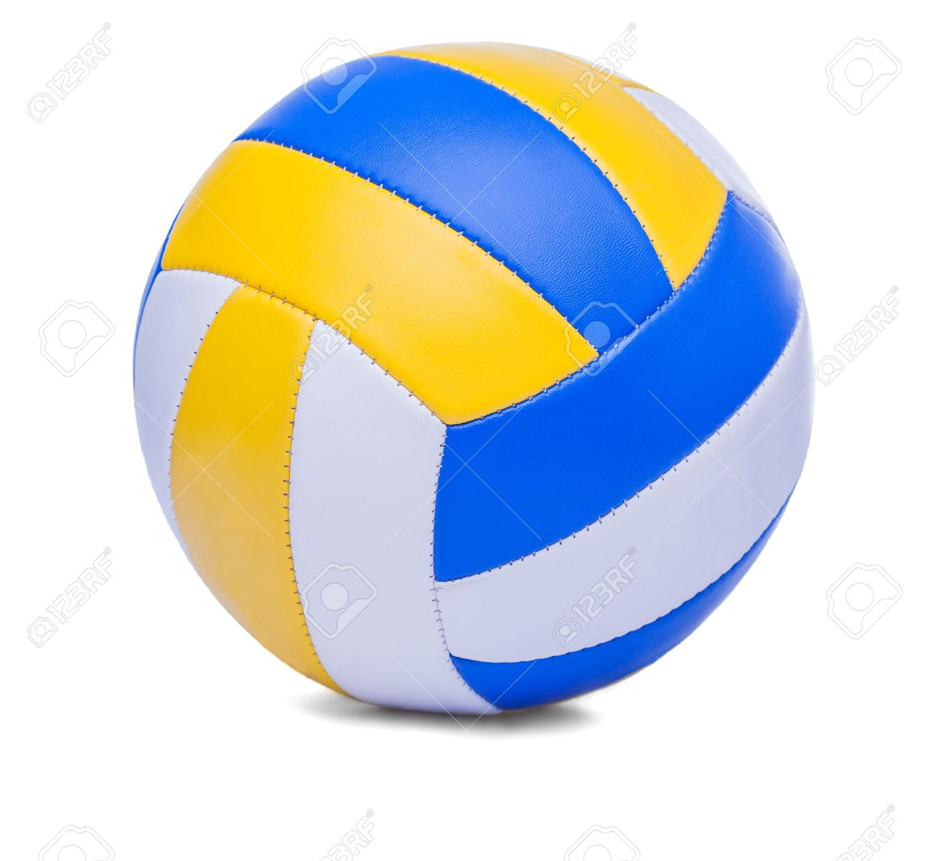 Dark Blue Yellow Volley ball Ball On A White Background Stock 1300x1205