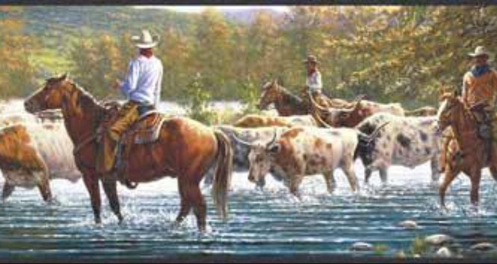 Wallpaper Border American West Western Cowboy Cattle Drive Black Trim 1000x531