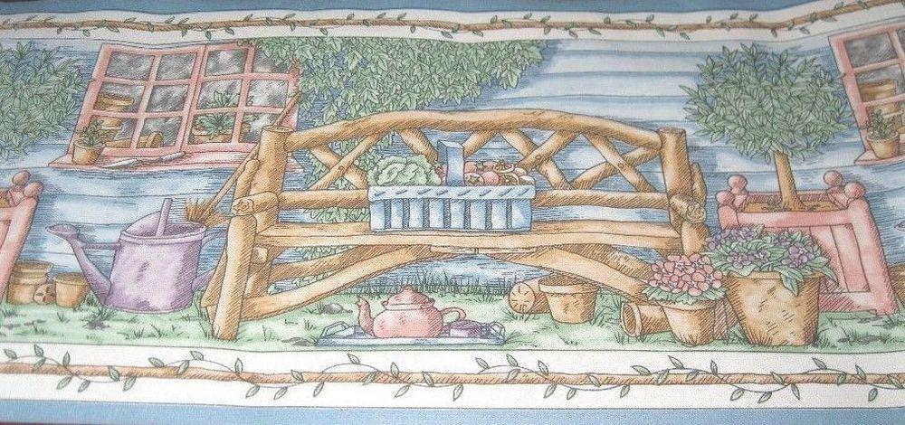 Wallpaper Border 60ft Primitive Country Porch Rustic Log Cabin Branch 1000x470