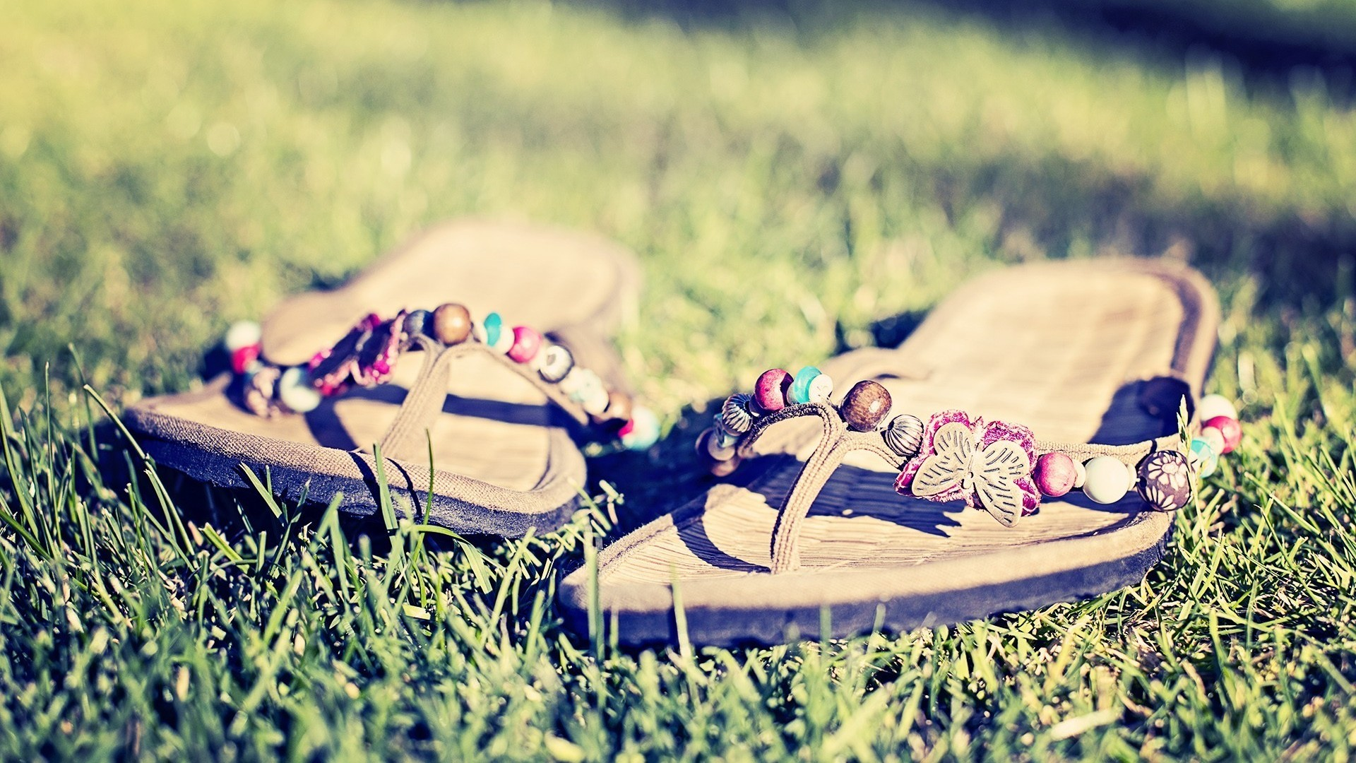 pair of flip flops in the grass wallpapers55com   Best Wallpapers 1920x1080