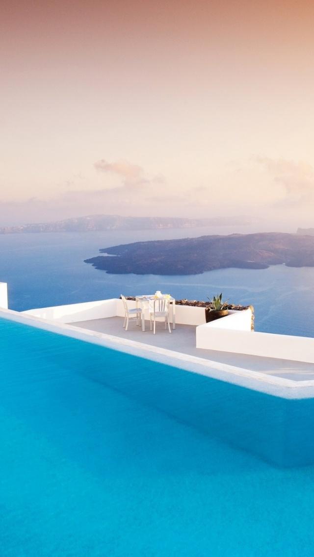640x1136 Santorini Pool Iphone 5 wallpaper 640x1136