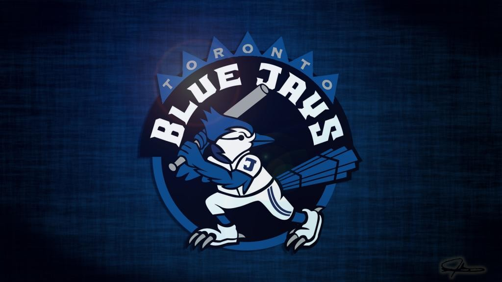Toronto Blue Jays desktop wallpaper featuring a cartoon like blue jay 1024x576