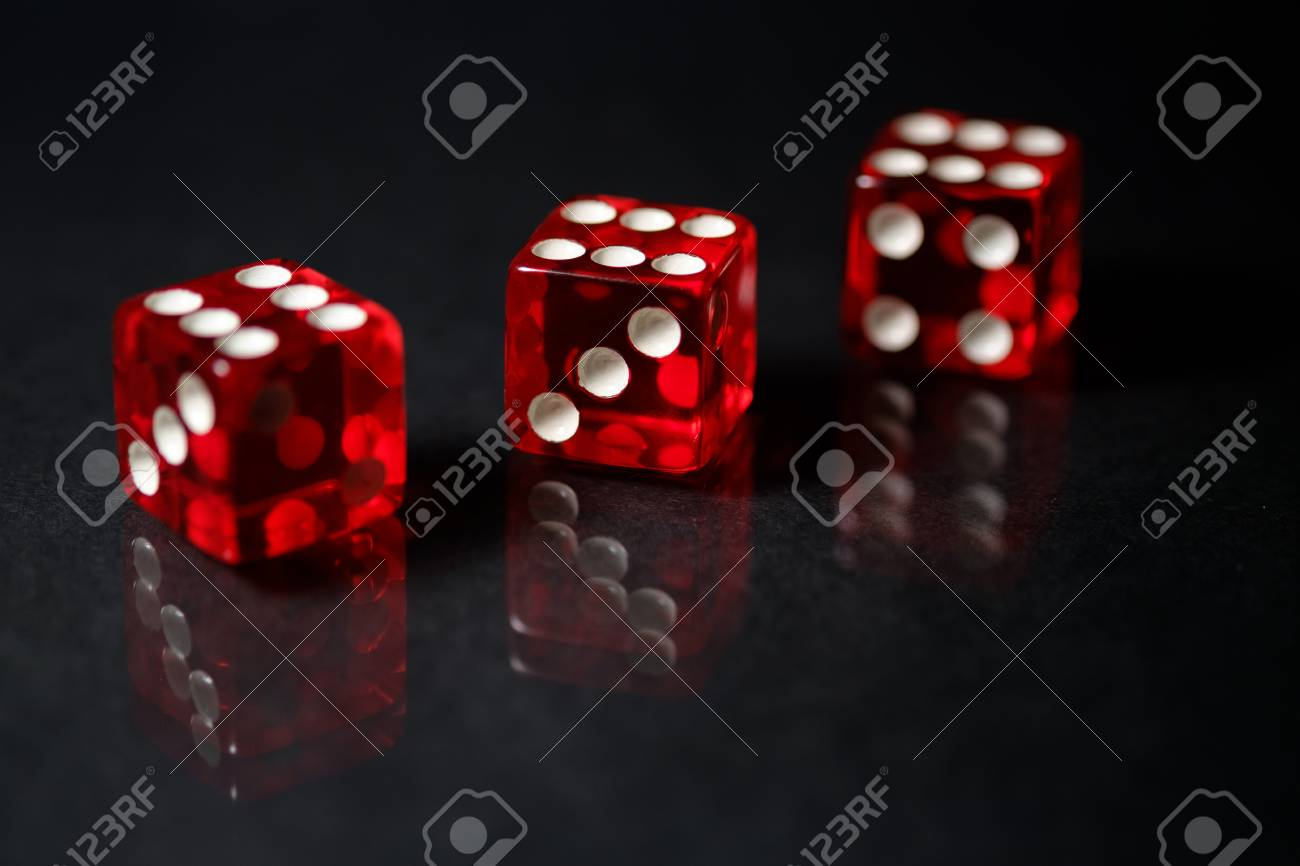 Red Sic Bo Dice With Black Background Stock Photo Picture And 1300x866