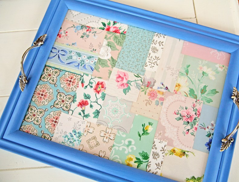 DIY Vintage Wallpaper Tray My So Called Crafty Life 789x600