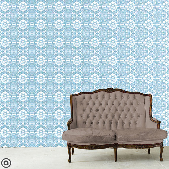 Removable Wallpaper  Victoria Tile  Peel Stick Self Adhesive Fabric 570x570