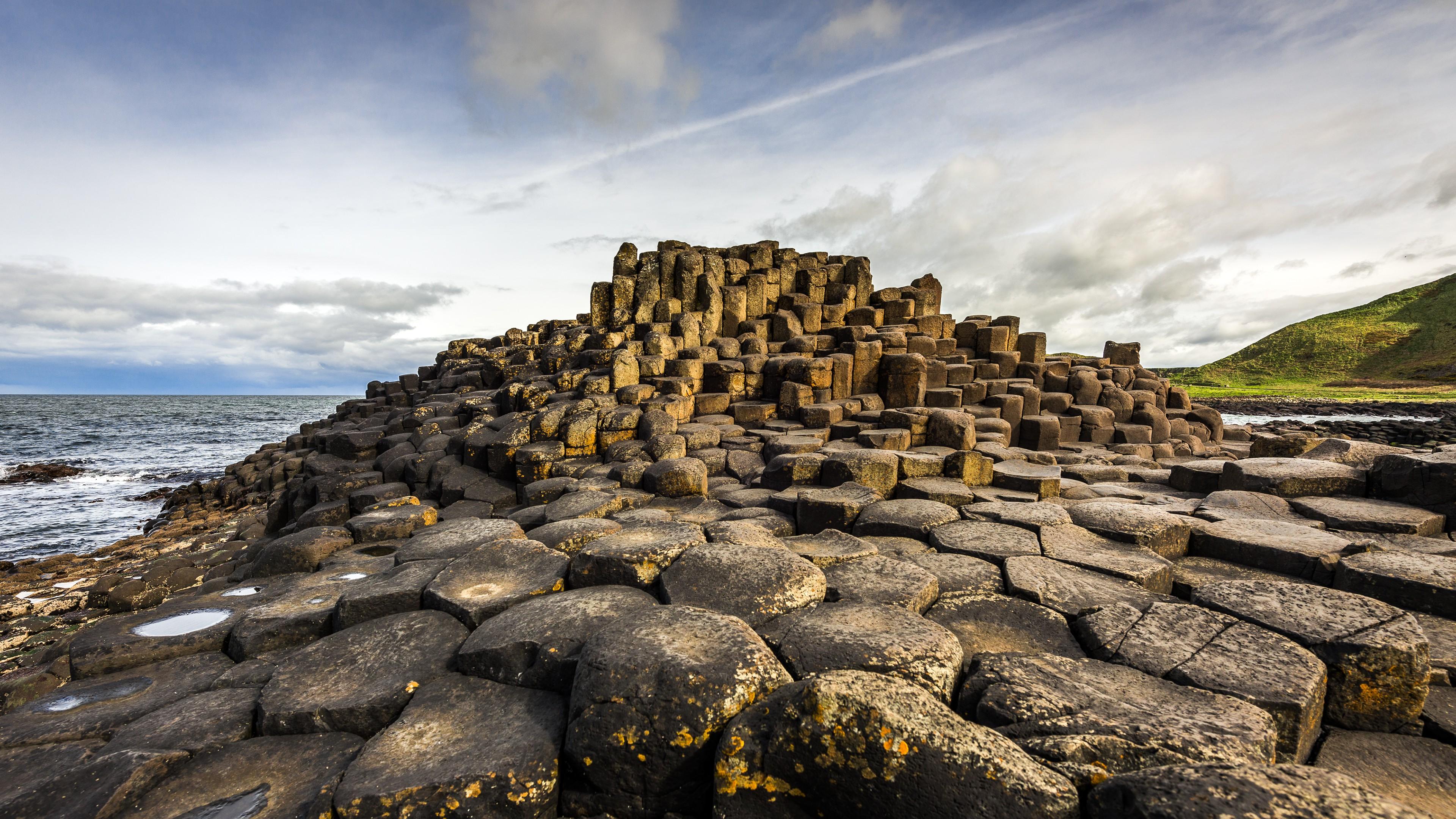 landscape Ireland Rock Formation Giants Causeway Nature 3840x2160