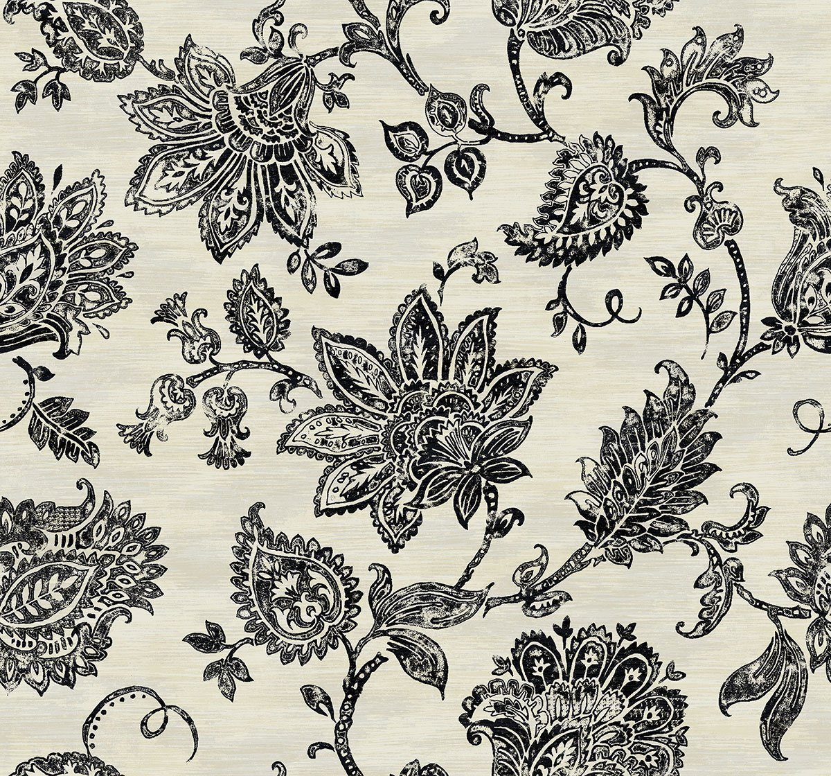 Sample Stamped Jacobean Wallpaper in Onyx from the Nouveau 1200x1120