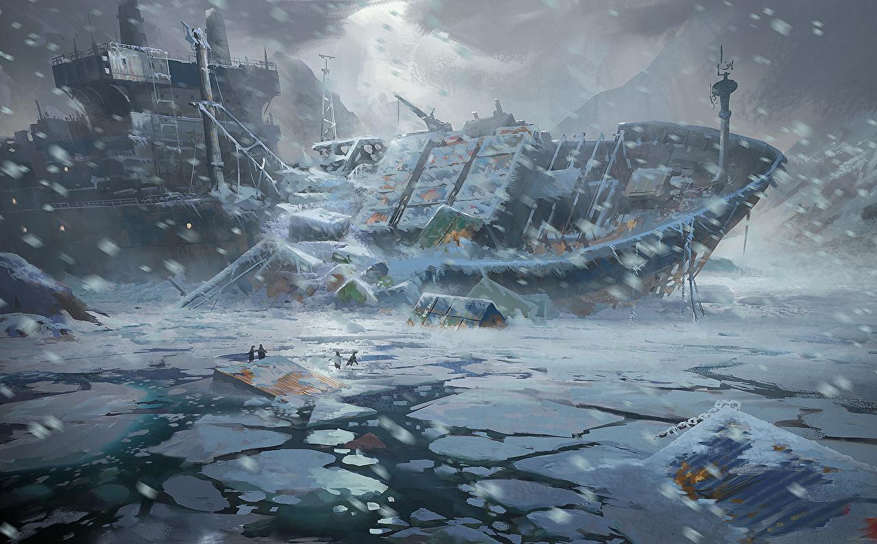 Wallpaper Tanker ship Apocalypse Fantasy ship Snow disaster 1280x794