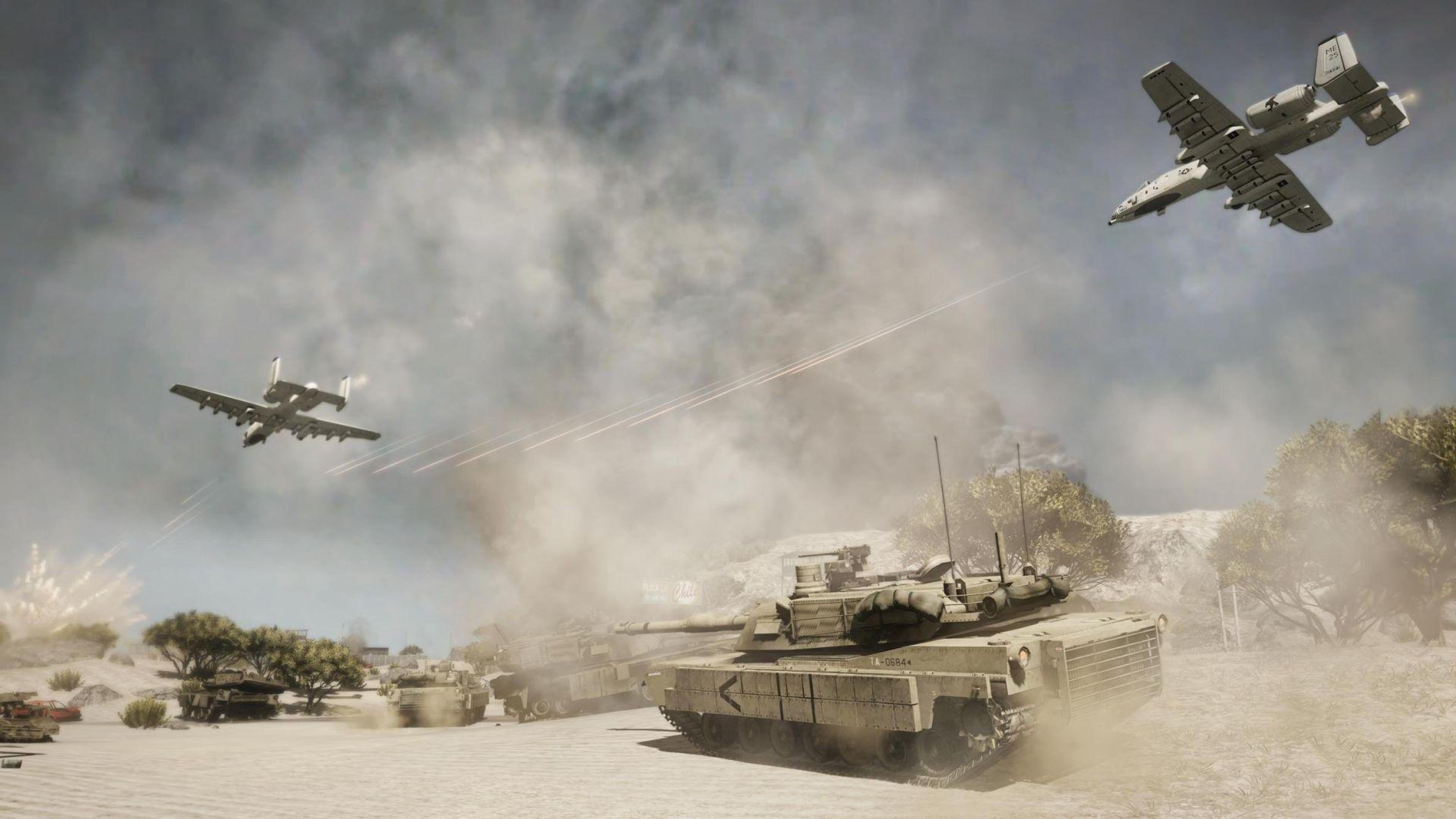 Wallpaper 3840x2160 battlefield aviation tanks fire smoke 4K 3840x2160