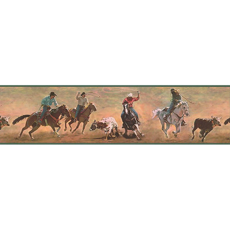 Wallpaper Border Western Cowboys Roping Border 800x800