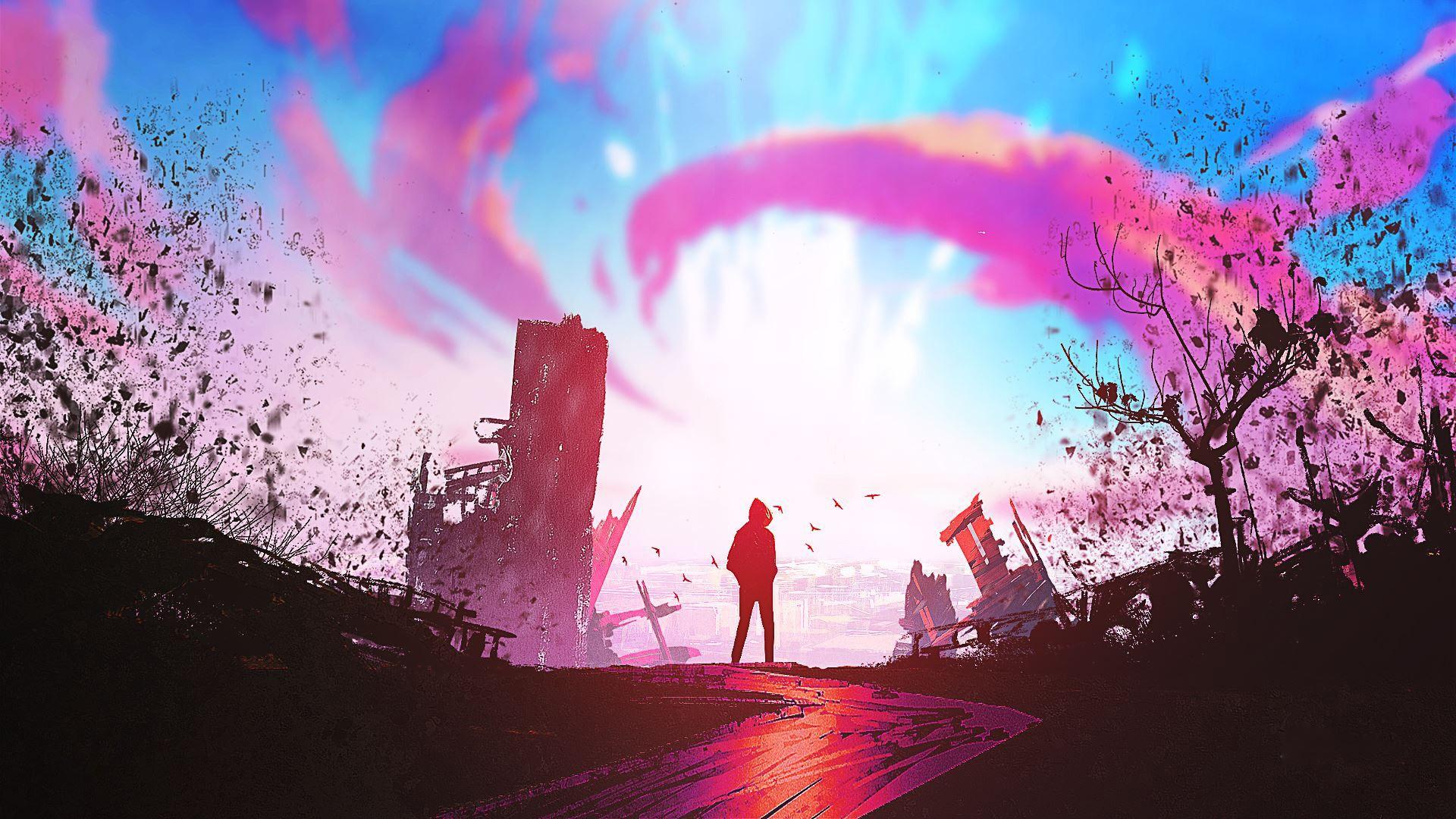 Free Download Illustration Fantasy Art Sunset Artwork Wallpaper
