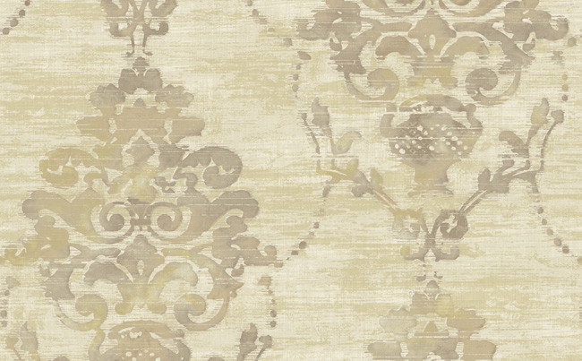 Sample of Distressed Damask Wallpaper in Cream and Metallic design by 650x403
