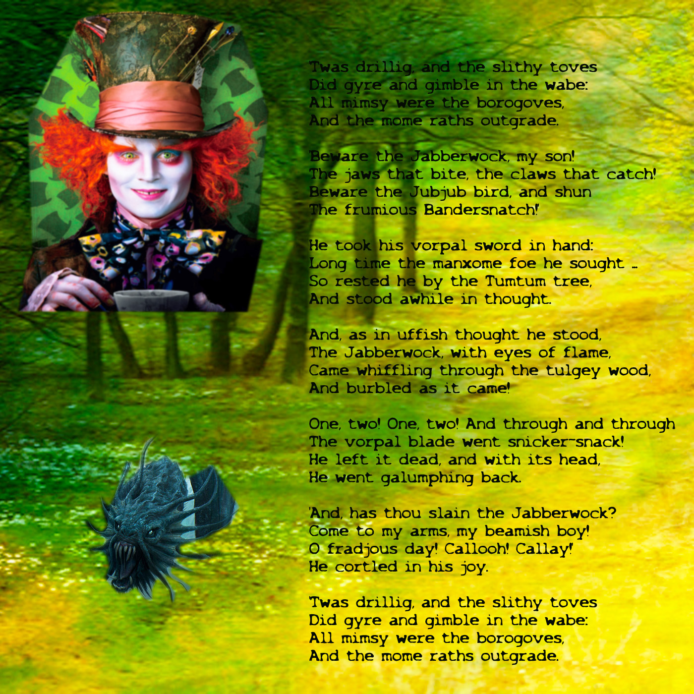 Alice in Wonderland 2010 images Jabberwock Poem HD wallpaper and 1400x1400