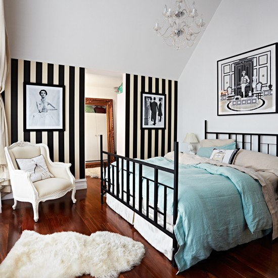 Bedroom with black and white striped wallpaper Modern bedroom design 550x550