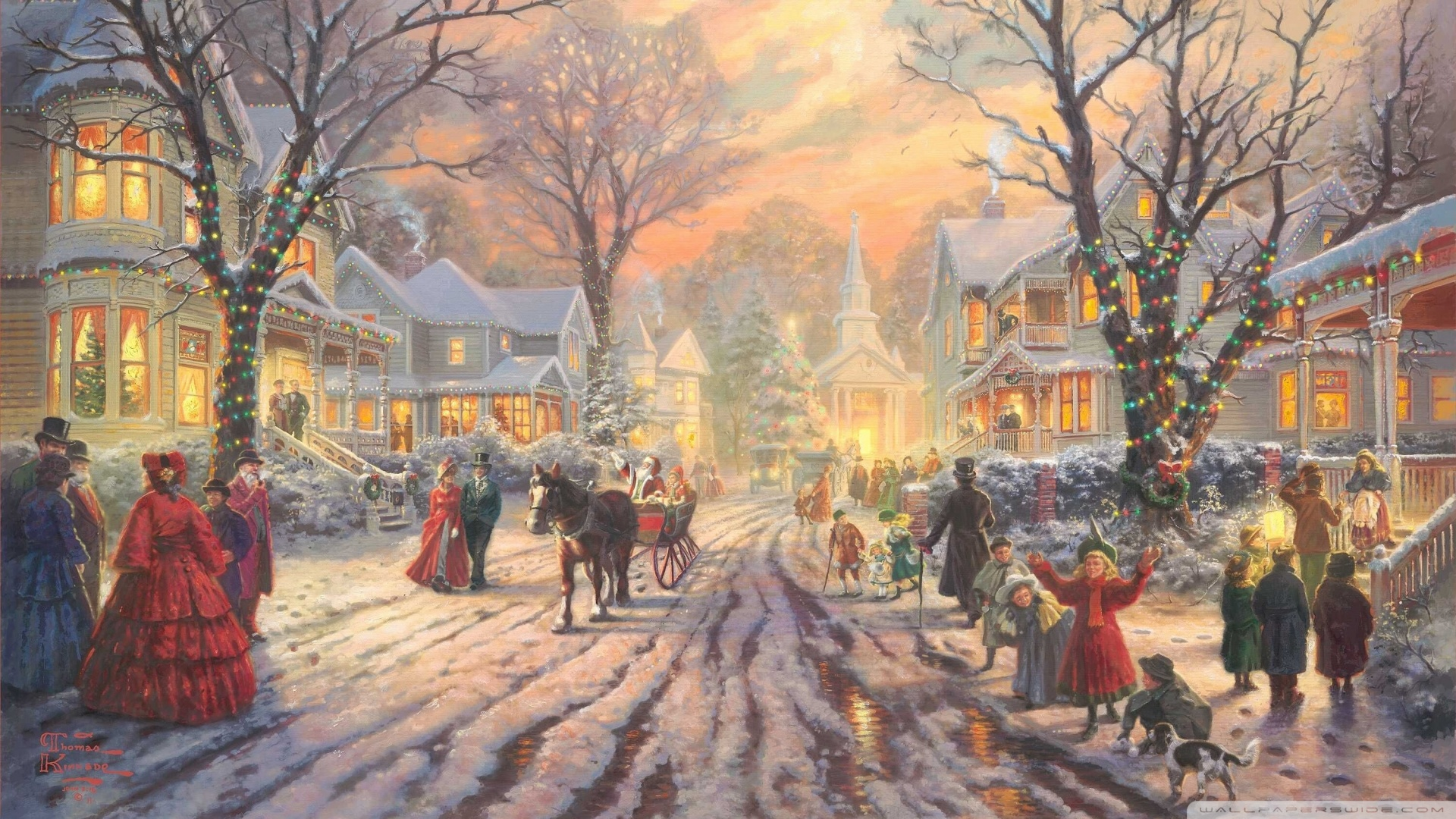 Victorian Christmas Carol By Thomas Kinkade Wallpaper 1920x1080 1920x1080
