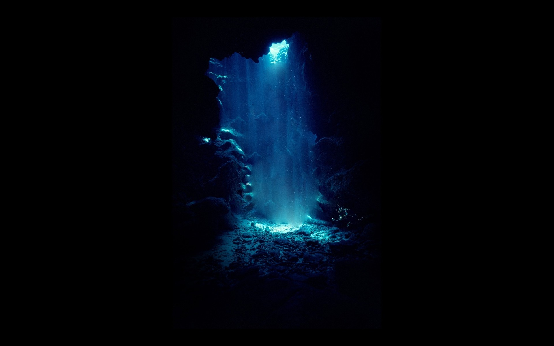Blue light in a cave wallpapers and images   wallpapers pictures 1920x1200