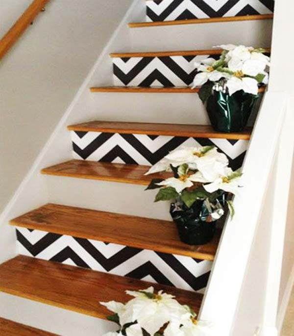 Add wallpaper to your stair risers 600x685
