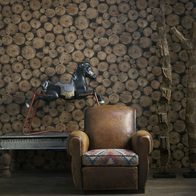 Intricate beech log pile wallpaper design by Andrew Martin 640x640