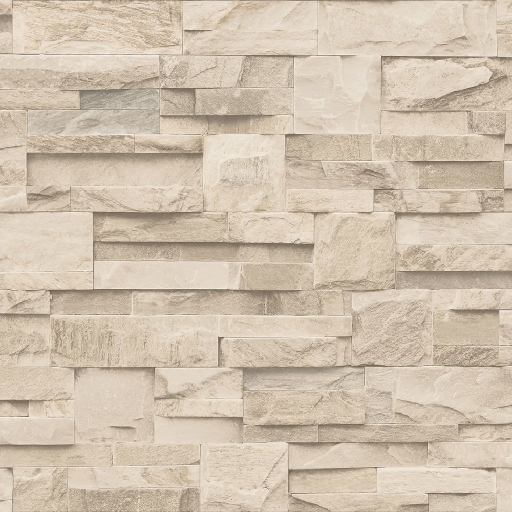 Muriva Bluff Slate Stone Block Brick Effect Wallpaper Beige J20407 1000x1000