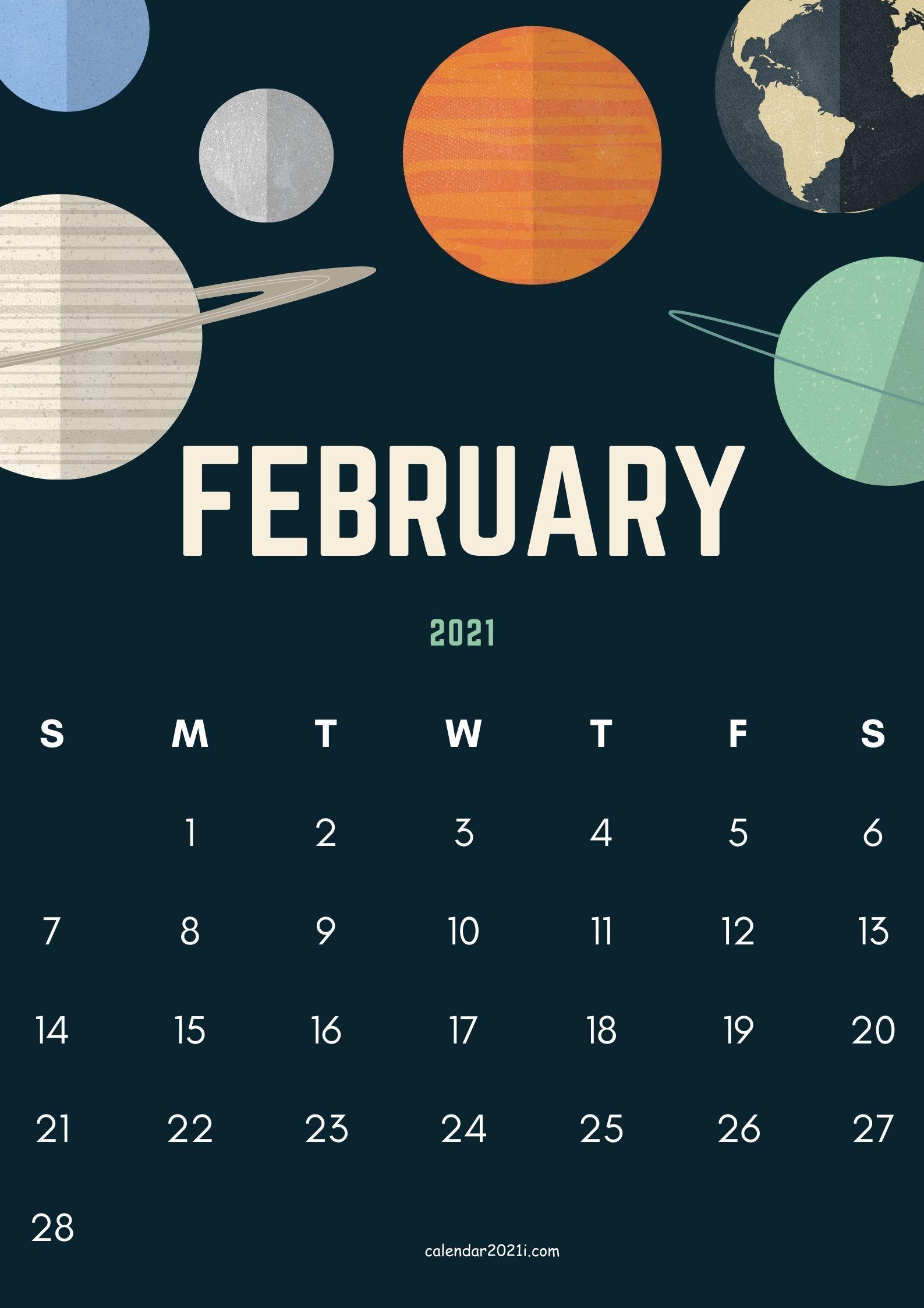 February 2021 Calendar Printable Floral Holidays Wallpaper