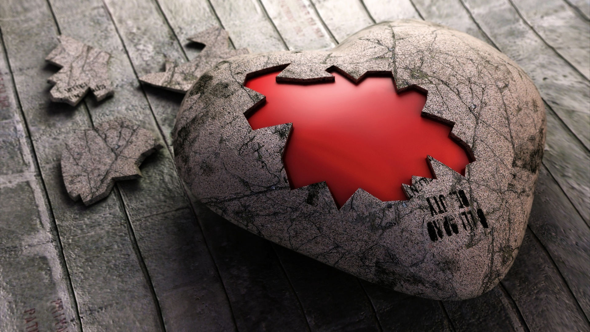 Heart of Stone 3D Wallpaper HD Wallpaper 1920x1080