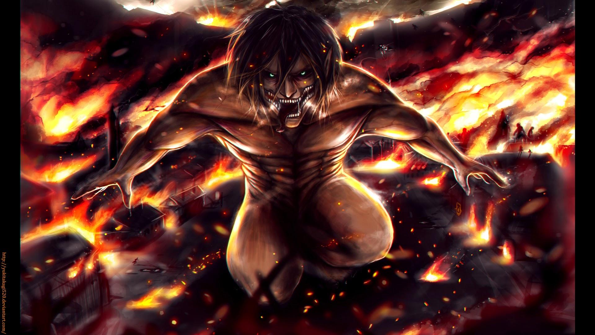 Attack On Titan Eren Wallpaper 1080p Eren yeager jaeger rogue titan 1920x1080