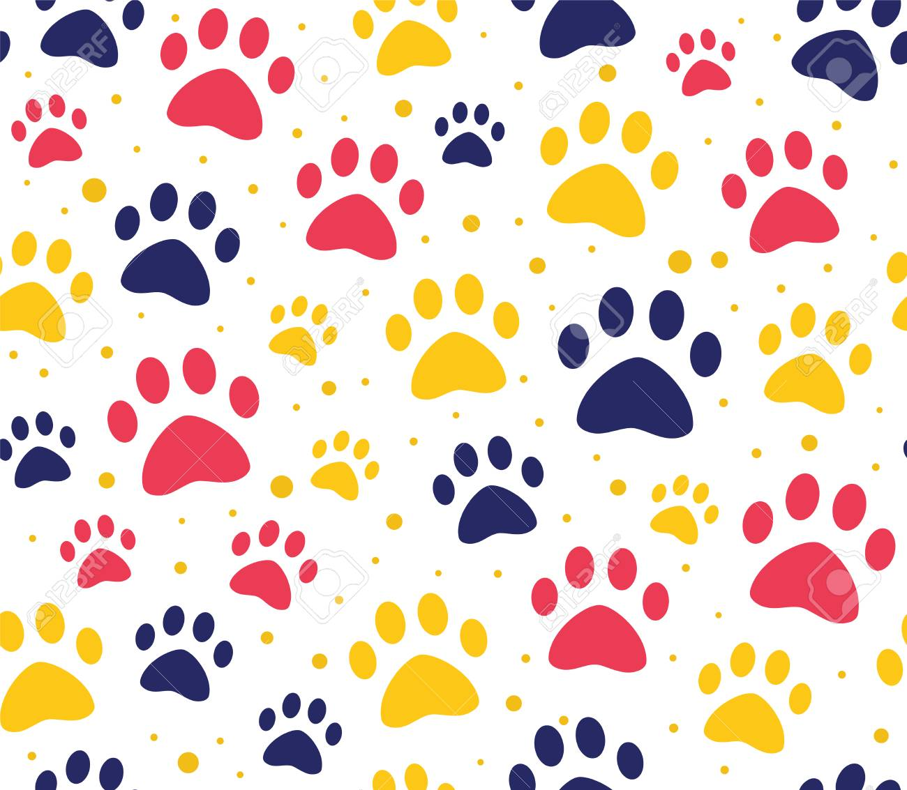 Cat Or Dog Paw Seamless Patterns Backgrounds For Pet Shop 1300x1133