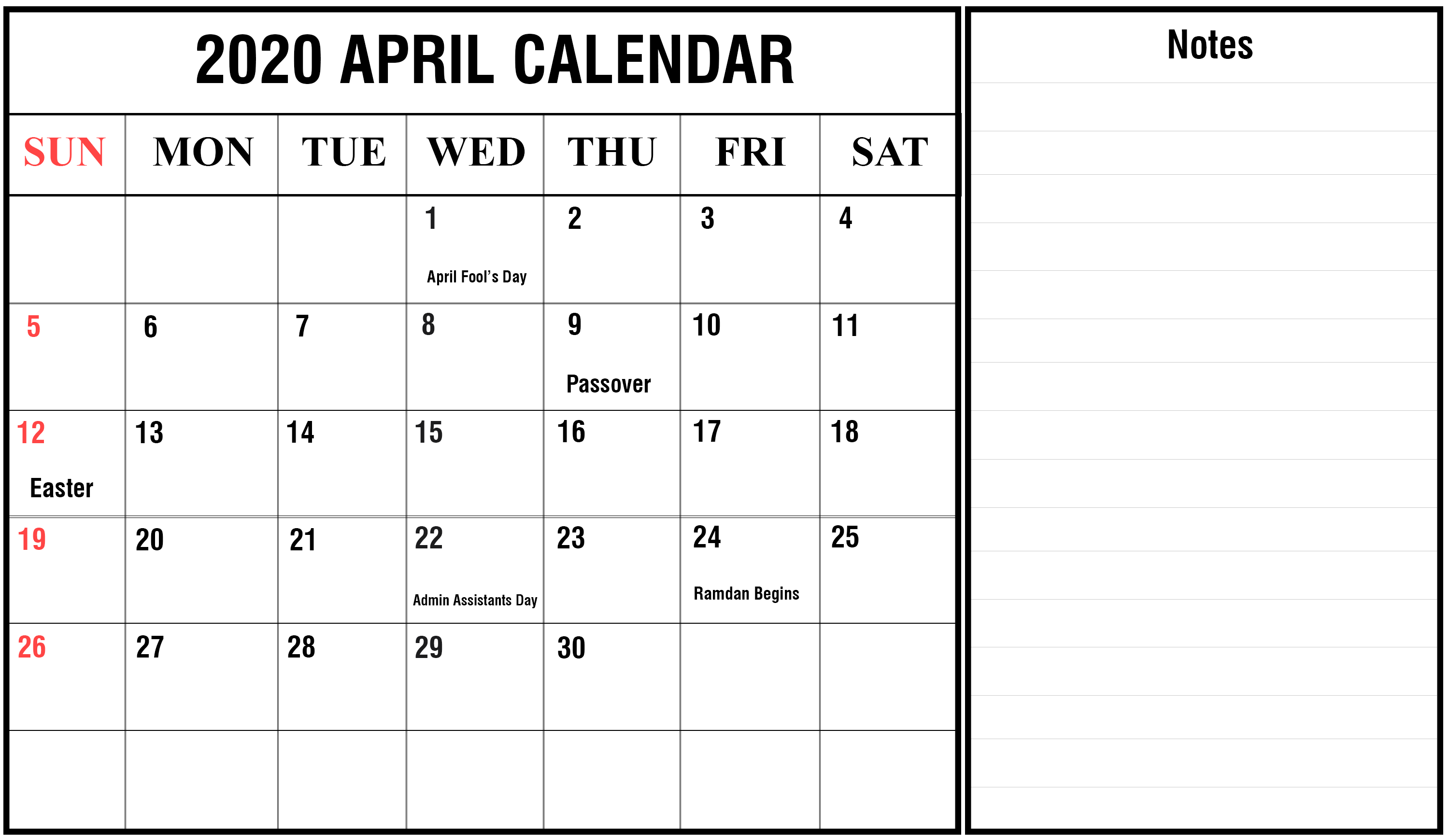 April 2020 Calendar With Notes Printable calendar template 3000x1740