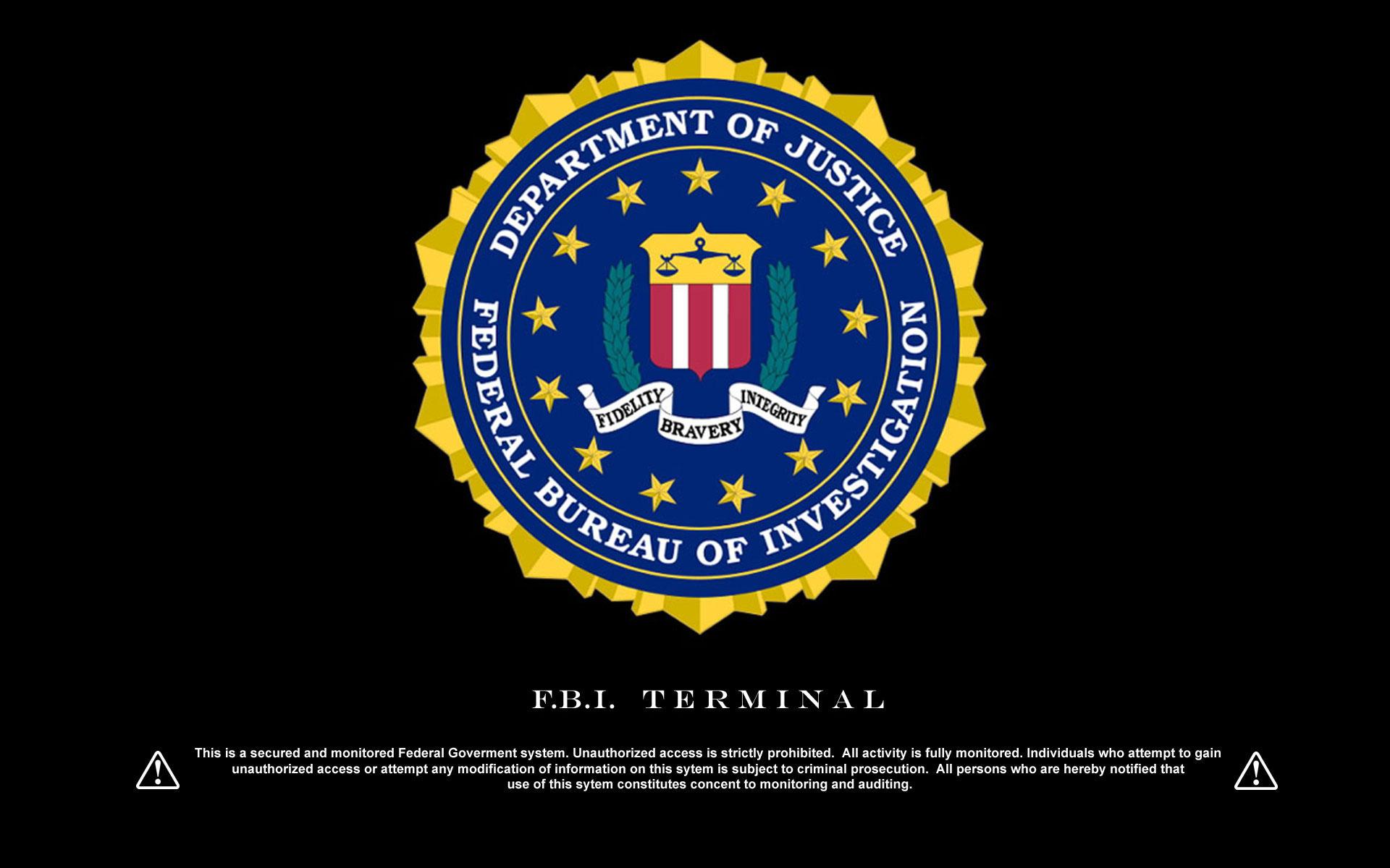 FBI Logo with Terminal warning Wallpapers 1920x1200