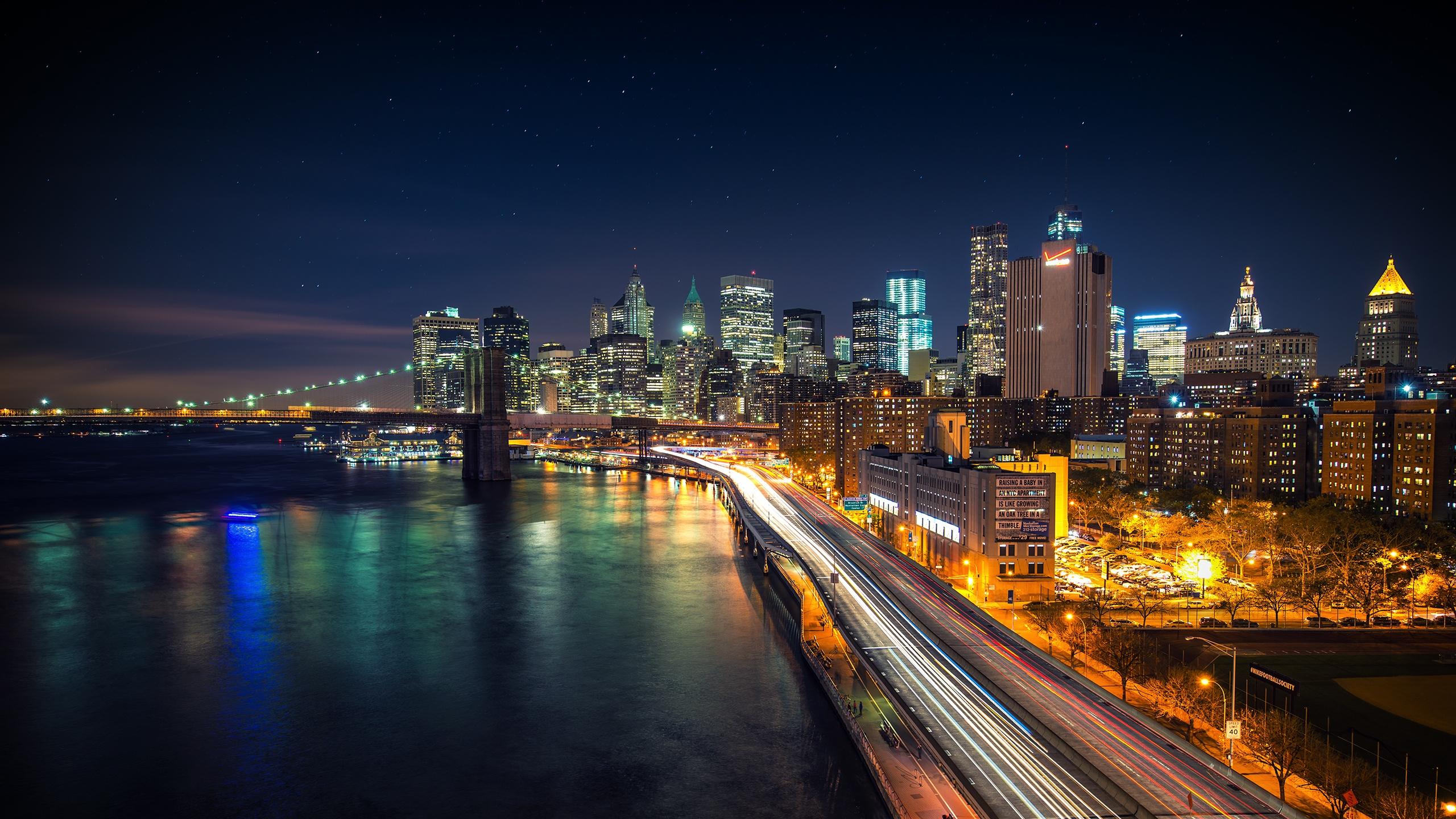 manhattan nights cityscape wallpaper Desktop Backgrounds 2560x1440