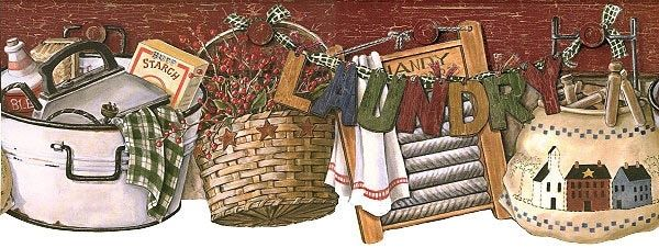 Laundry Day Wallpaper Border Rf3593bd Country Primitive 600x226