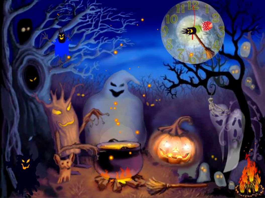 Wallpapers For Halloween Group   Moving Halloween Desktop 1055x791