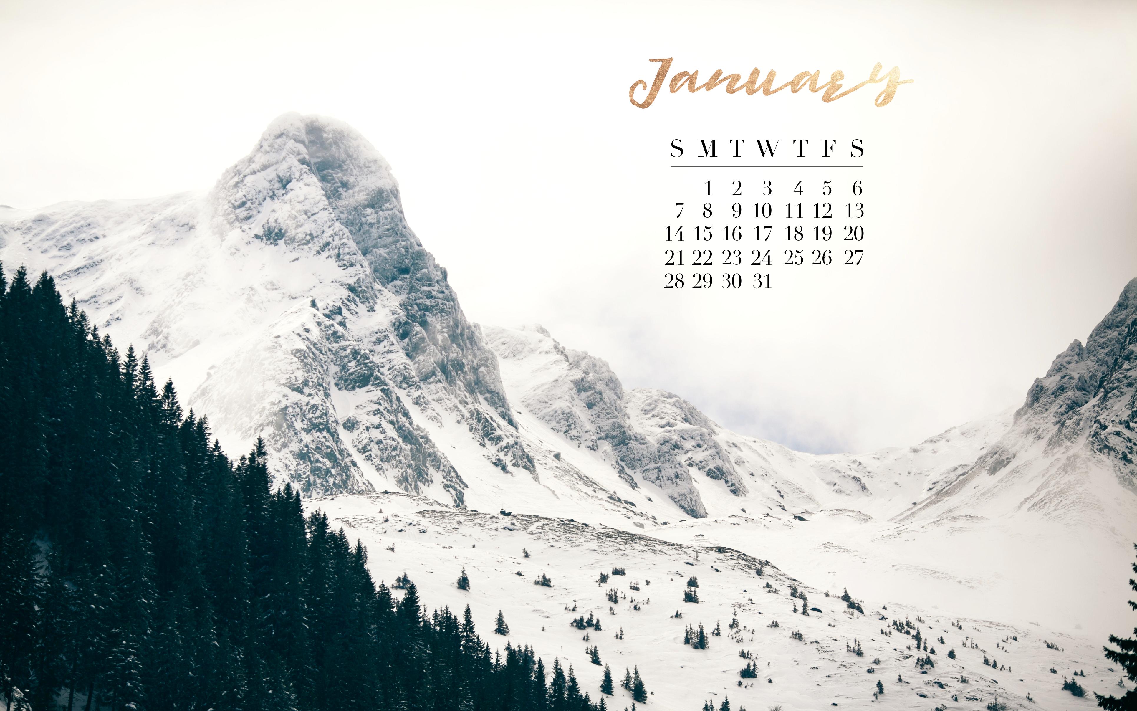 January 2018 calendar Mac laptop background gold winter 3861x2414