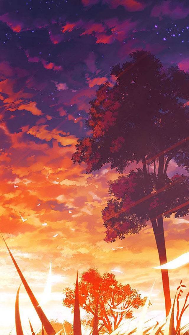 Anime Sunset Scenery IPhone 6 6 Plus And IPhone 54 Wallpapers 640x1136