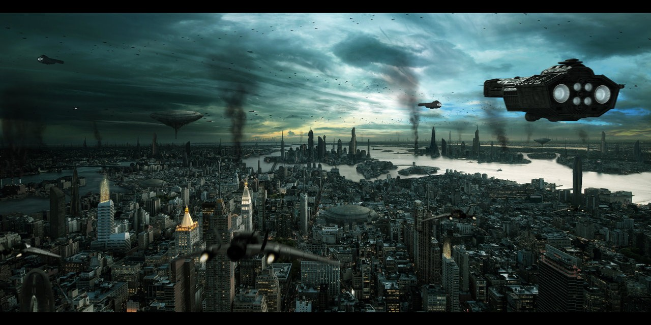 cityscapes future grey buildings deviantart pollution new york HD 1280x640
