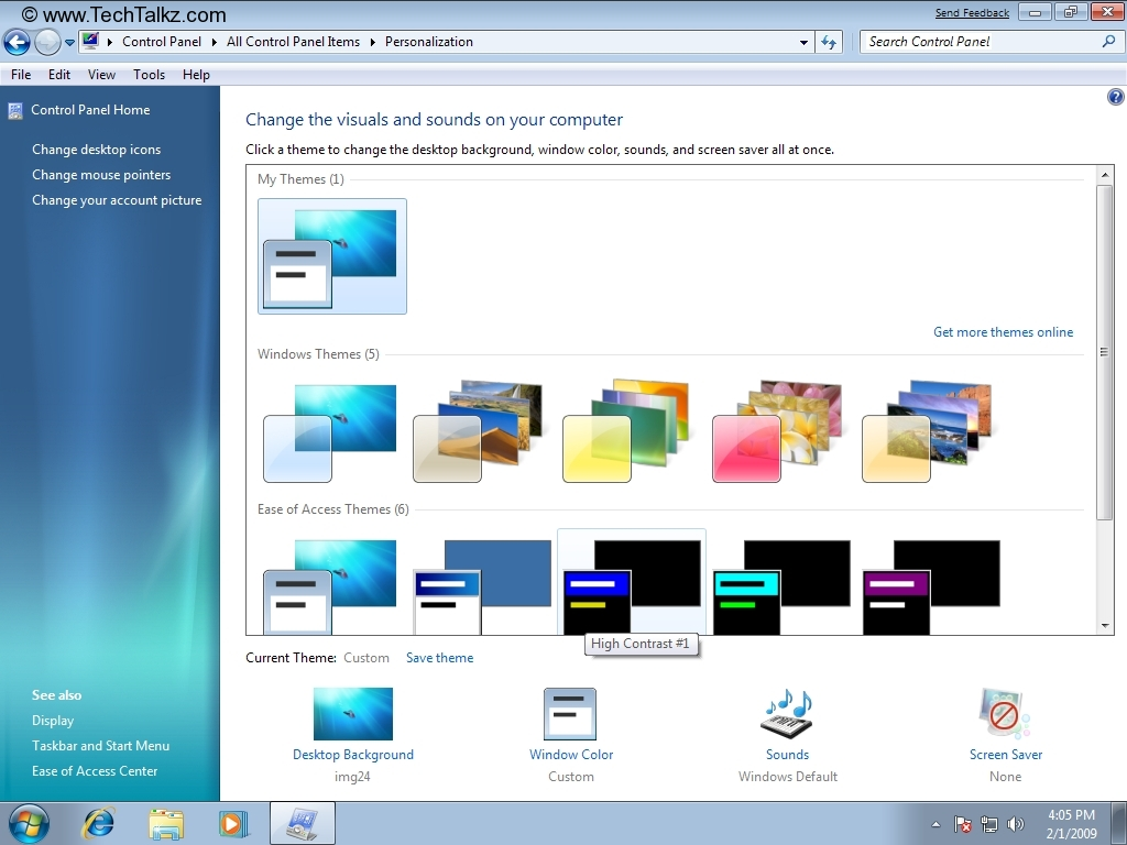 under Windows Themes 5 to change the Desktop background Window 1024x768