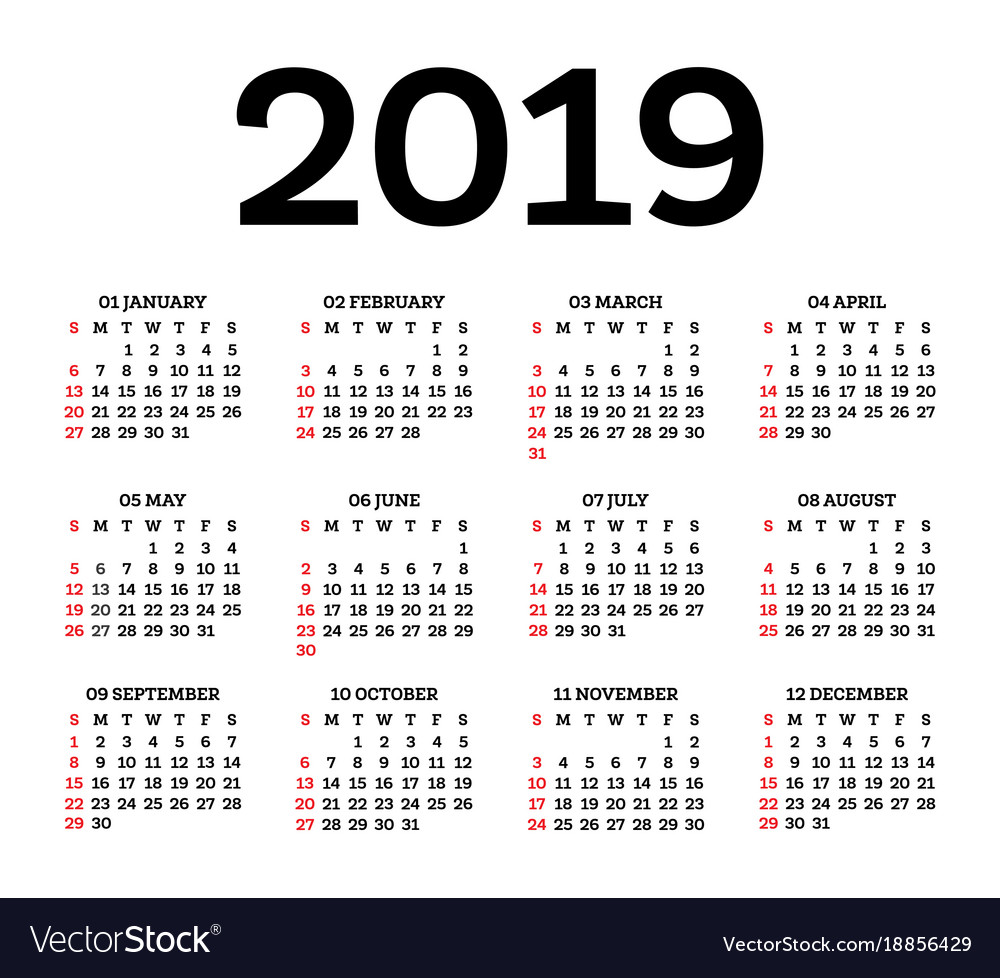 Calendar 2019 isolated on white background week Vector Image 1000x978