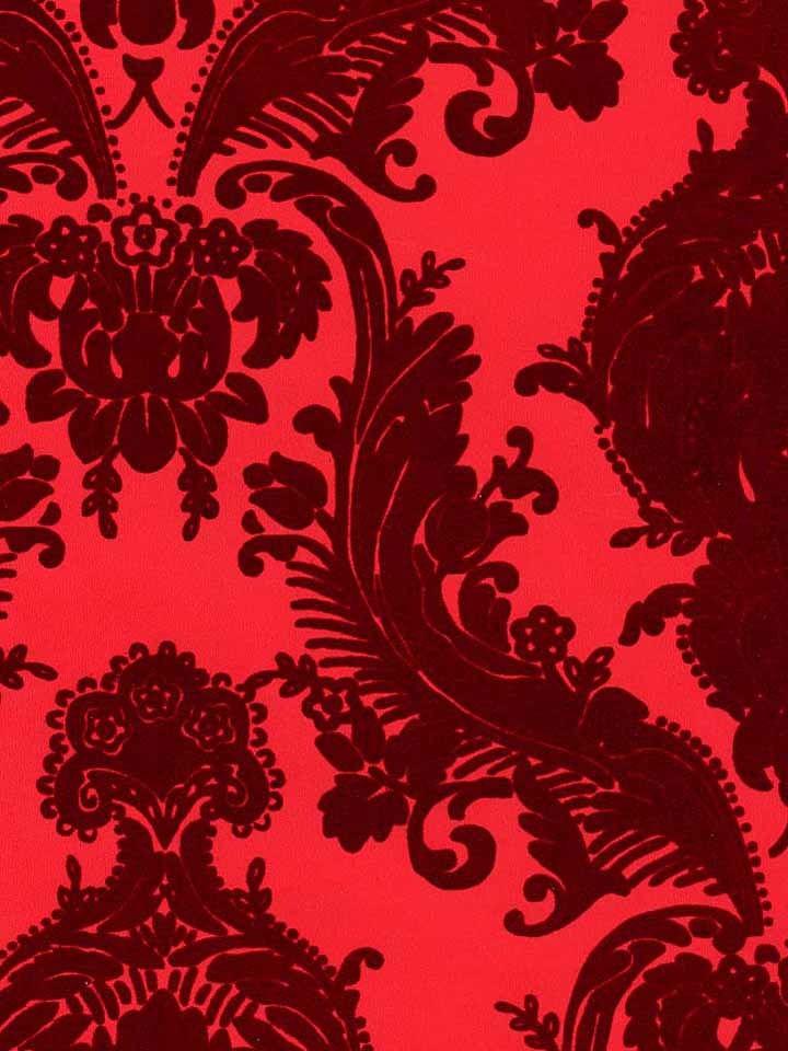 wallcoverings wallpapers walls flock velvet wallpaper more red flocked 720x960