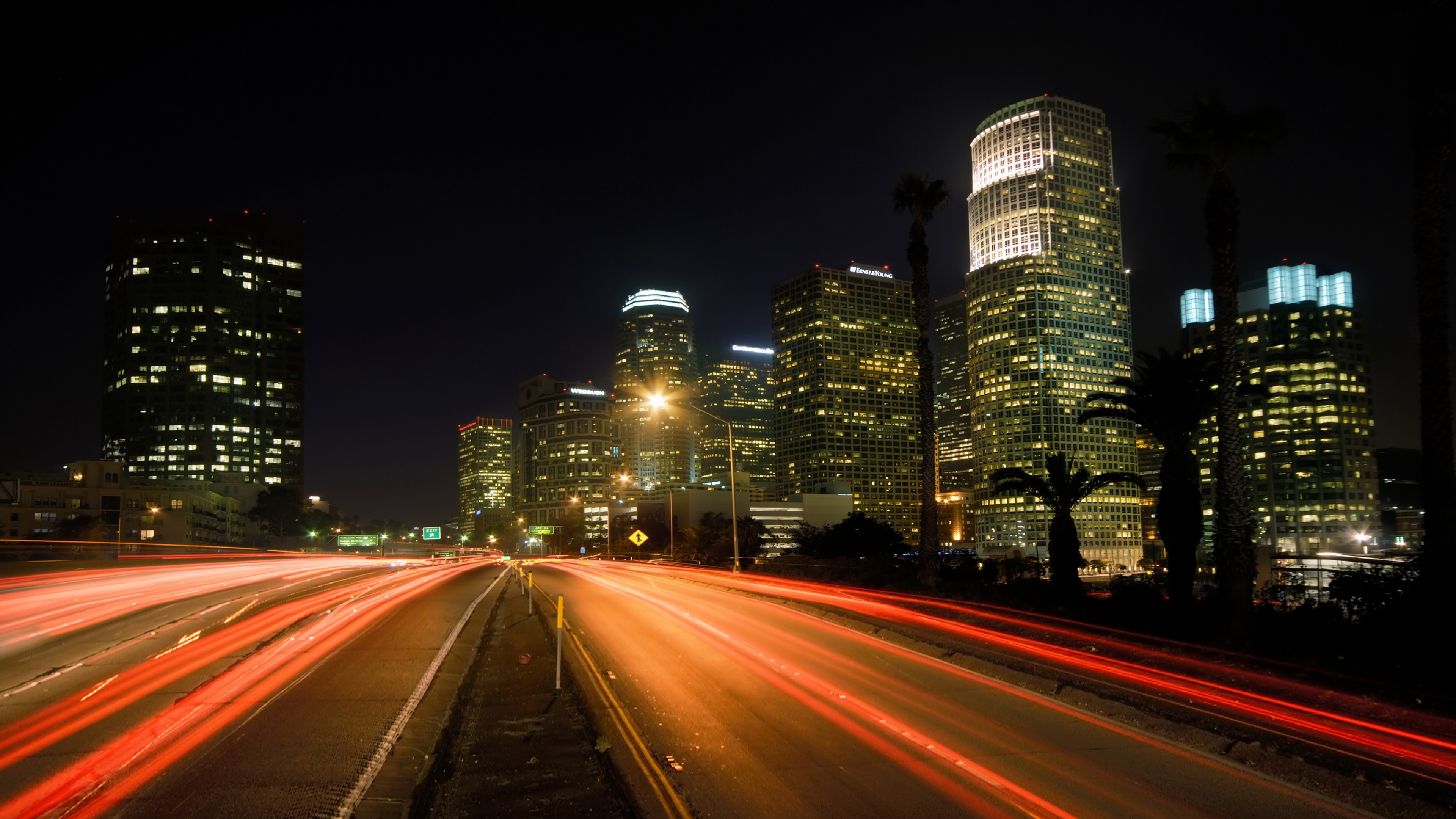 Download Wallpaper 3840x2160 City Night Lights Road Los angeles 4K 3840x2160