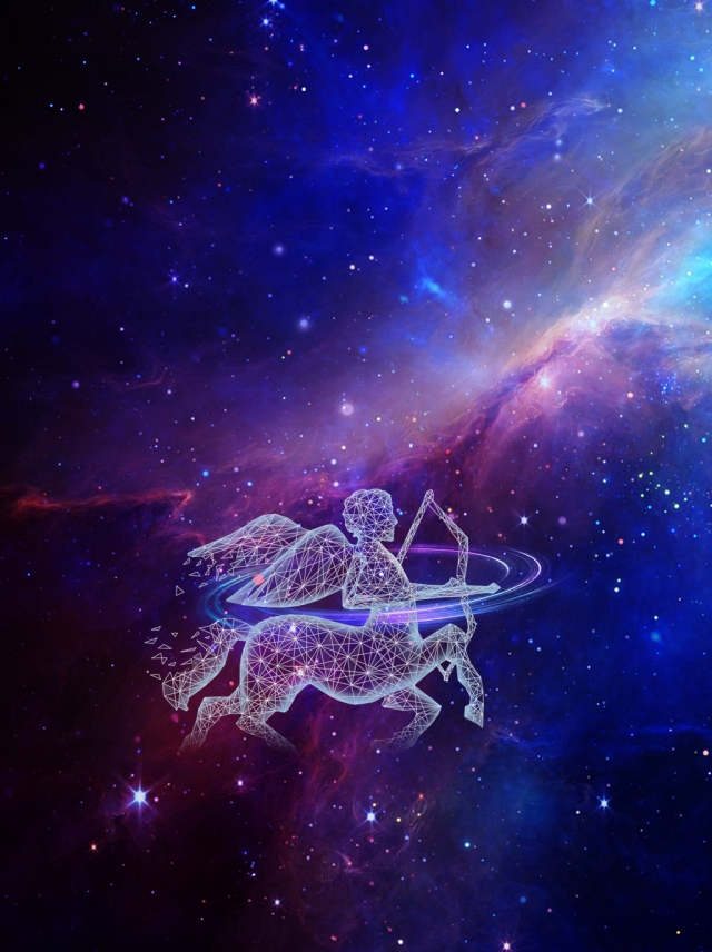 Fantasy Cosmic Light Sagittarius Advertising Background 640x856