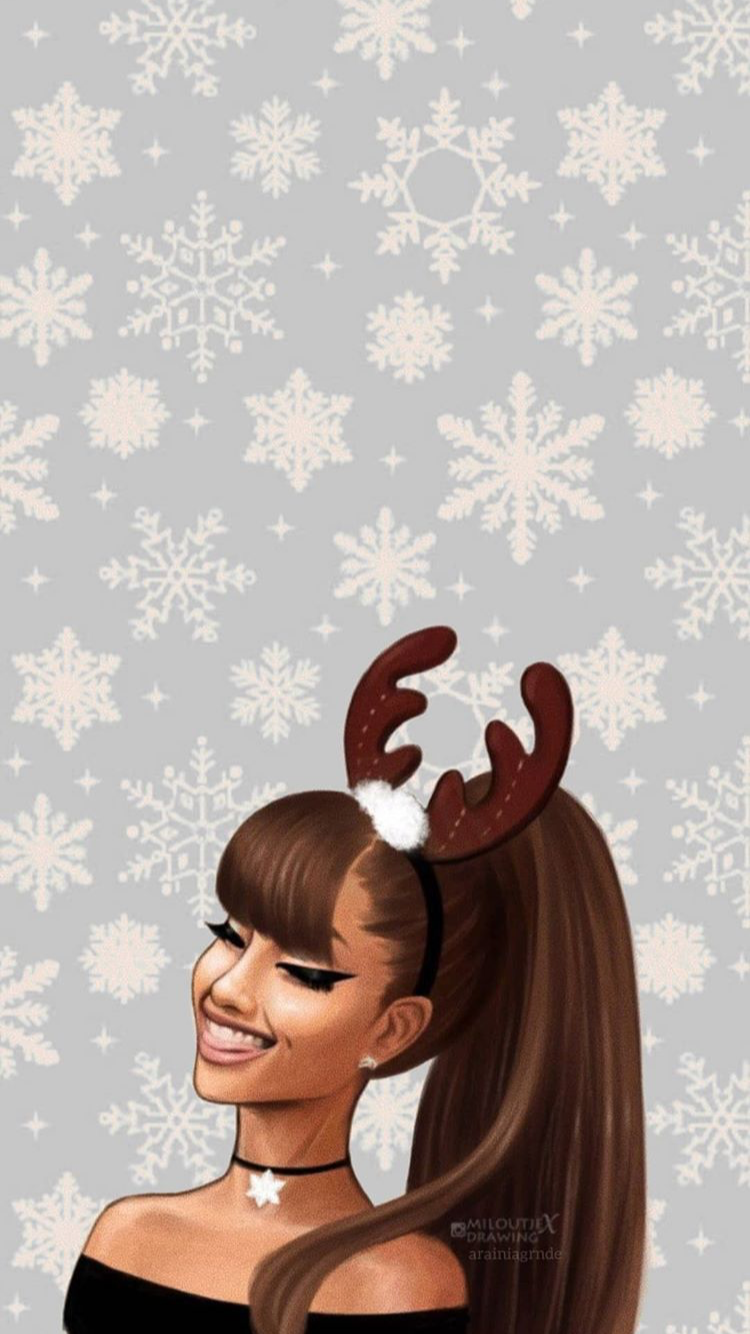 Ariana Grande Christmas lock screen Instagram officialyariana 750x1334