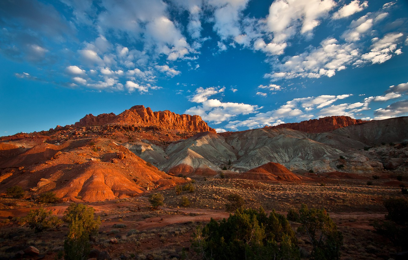 Wallpaper the sky mountains rocks Utah USA Capitol Reef 1332x850