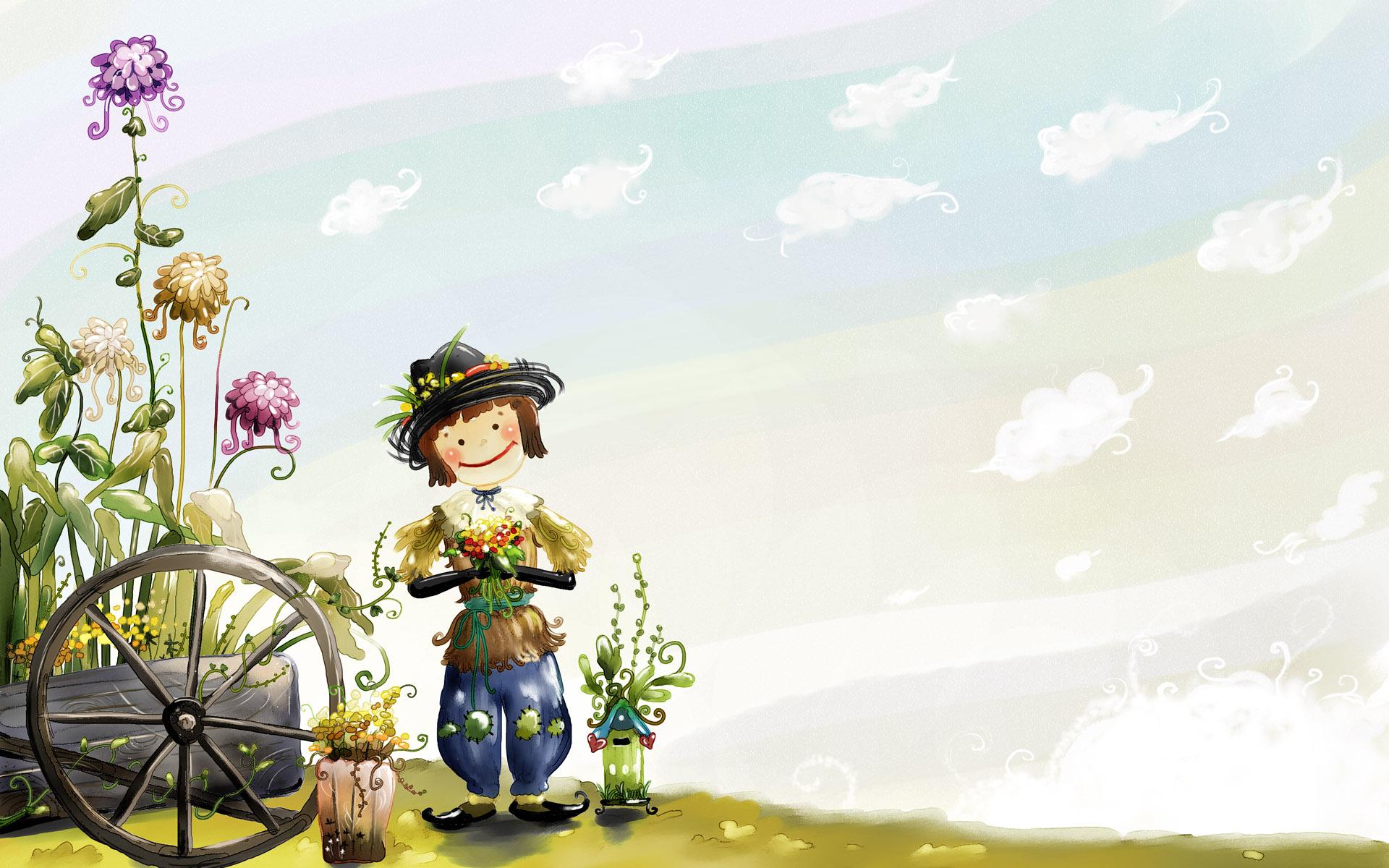 Flower Doll Funny Cartoon Desktop Wallpaper HD Desktop Wallpaper 1920x1200