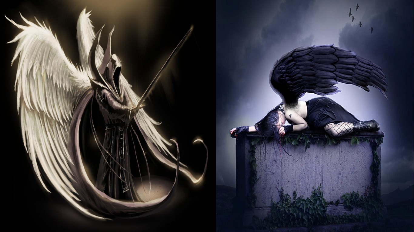 The Fallen Angel Computer Wallpapers Desktop Backgrounds 1366x768