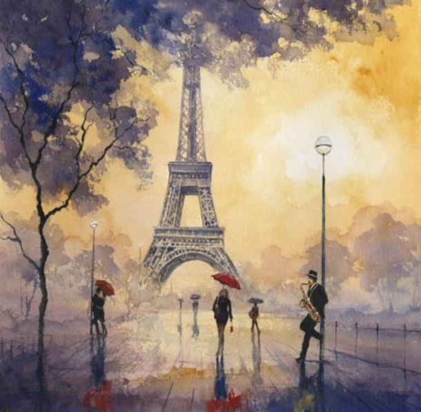 cute girly love painting paris rain wallpaper   image 3331740 610x597