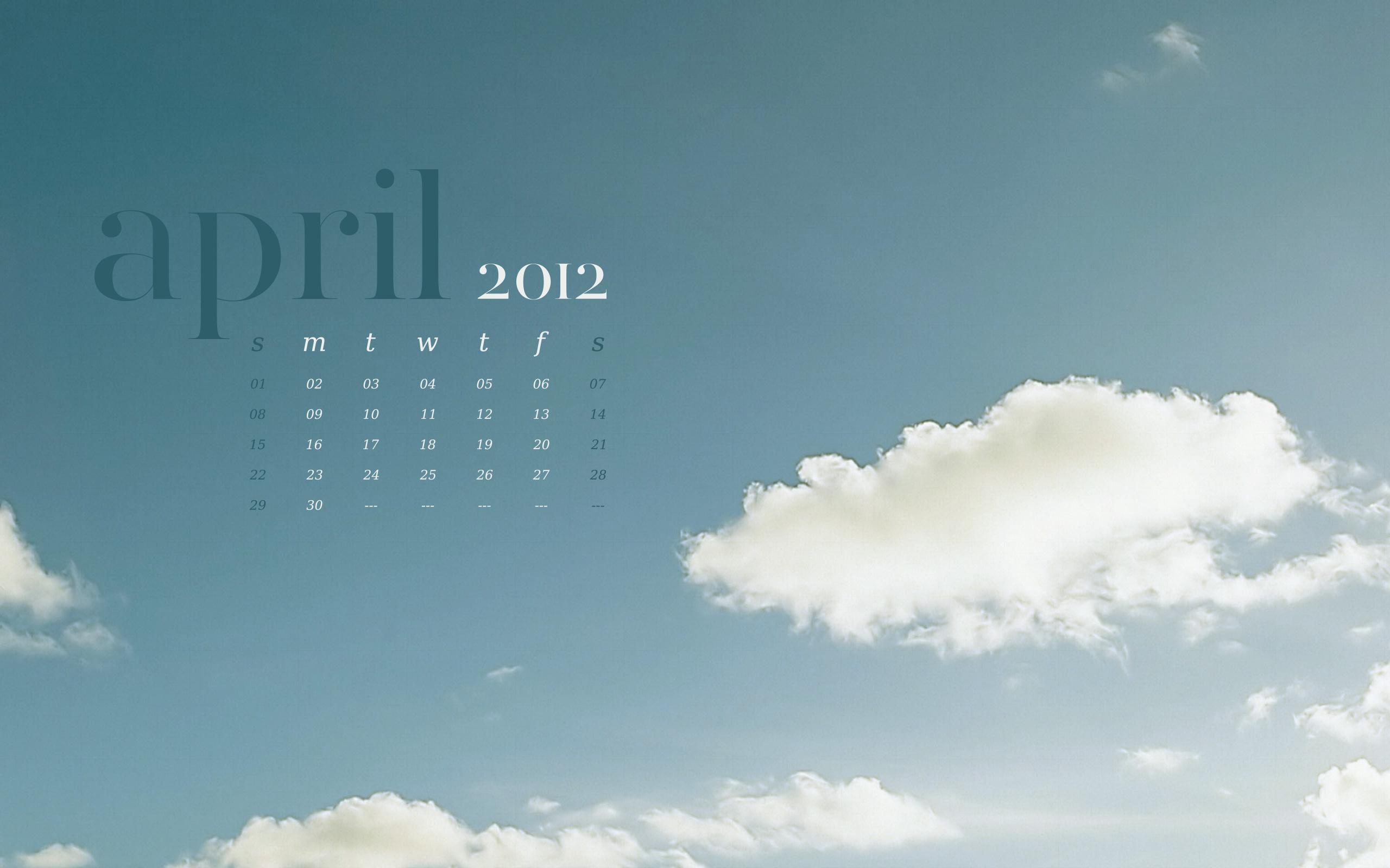 April 2012 Desktop Calendar Wallpaper Paper Leaf 2560x1600