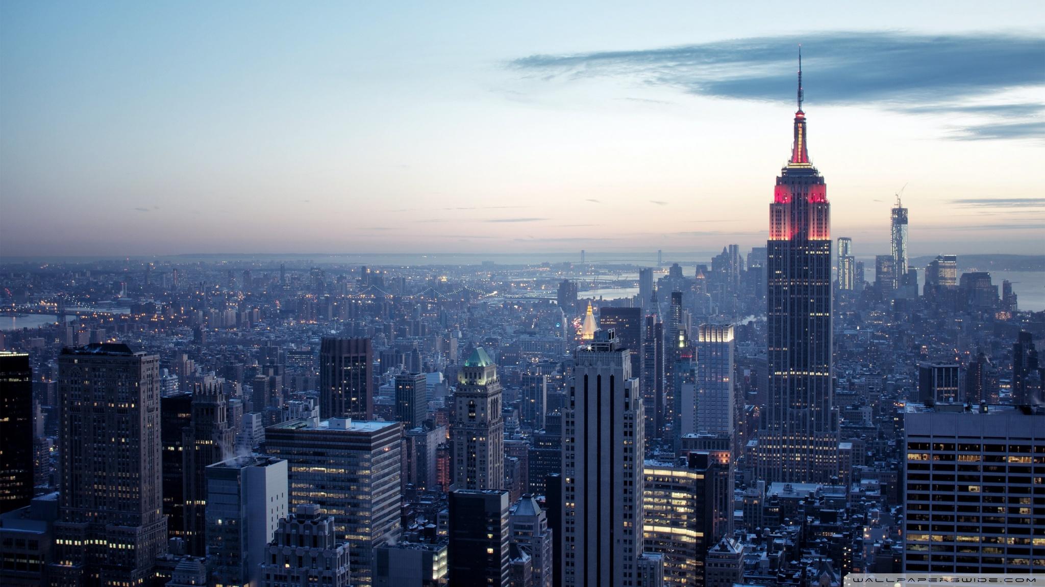 New York City Winter sunset 4K HD Desktop Wallpaper for 4K 2048x1152
