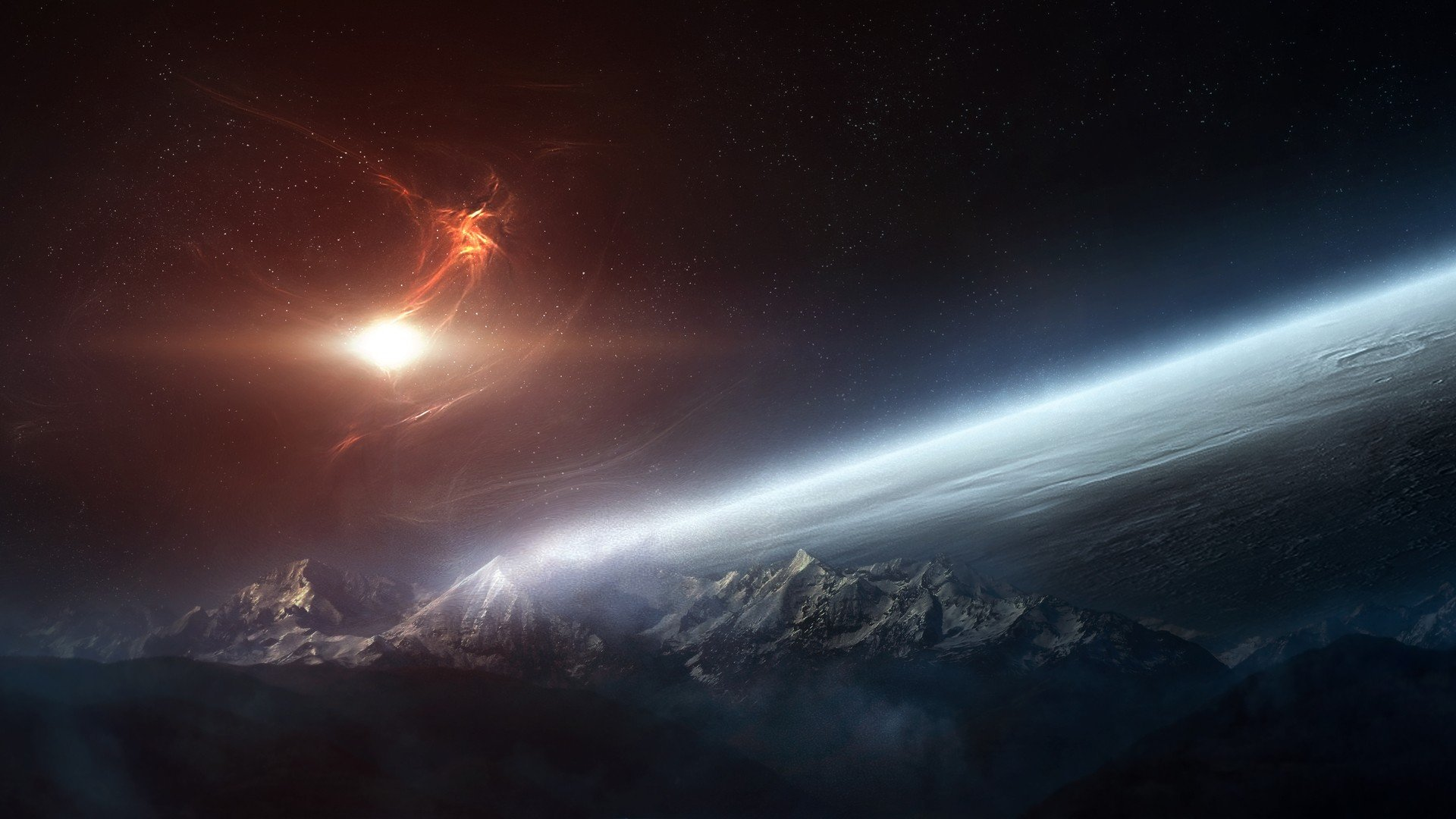 Mountains Outer Space HD Wallpaper FullHDWpp   Full HD 1920x1080