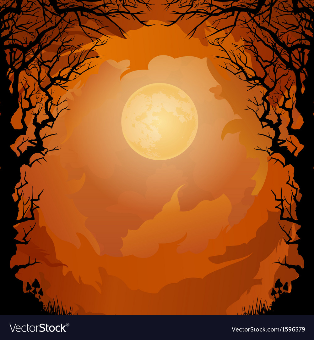 Moonlight Halloween background Royalty Vector Image 1000x1080