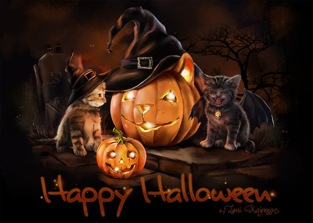 Happy Halloween Cat Cute Wallpaper 2021 Live Wallpaper HD 1024x730
